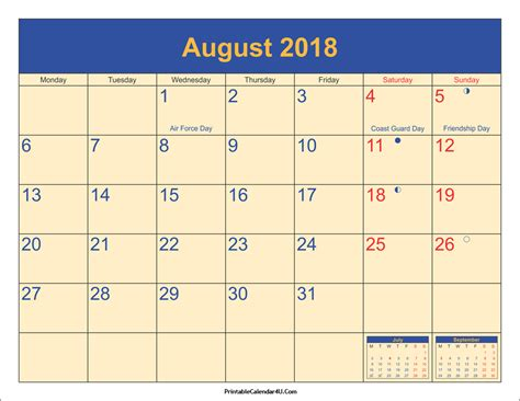 printable calendar 2018 with holidays august 2018 calendar printable with holidays pdf and jpg