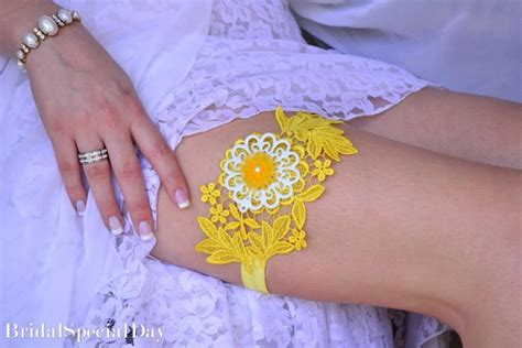 Yellow Wedding Accessories by Yellow Wedding Accessories Lace Wedding Garter Set Yellow