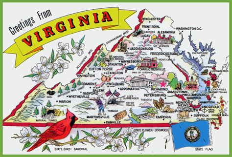 virginia on a map of the usa pictorial travel map of virginia