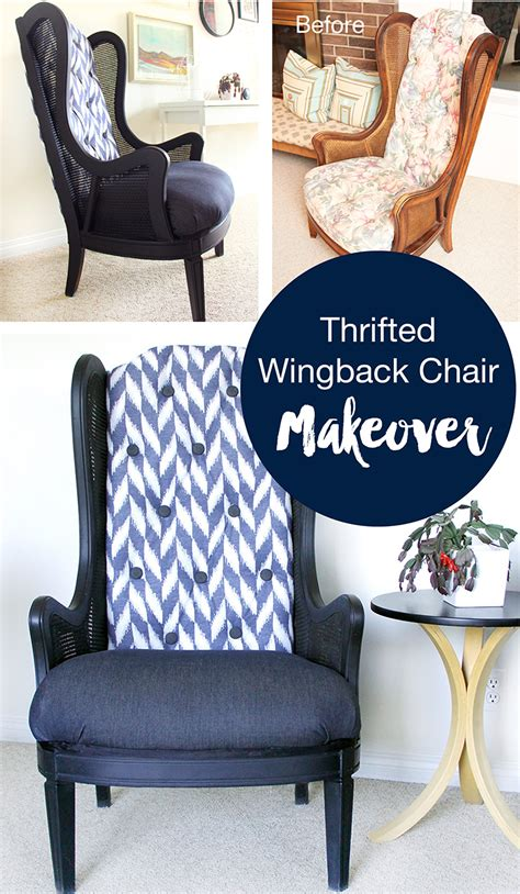 thrifted wingback chair makeover