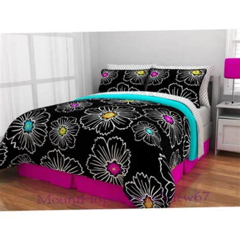 teal teen bedding bed in a bag bedding set black pink teal comforter teen girls twin full queen ebay