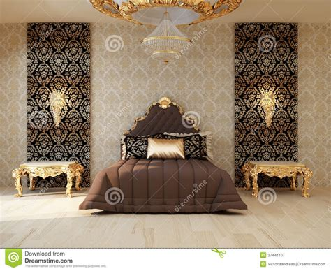 golden furnishers decorators luxury bedroom with golden furniture royalty free stock