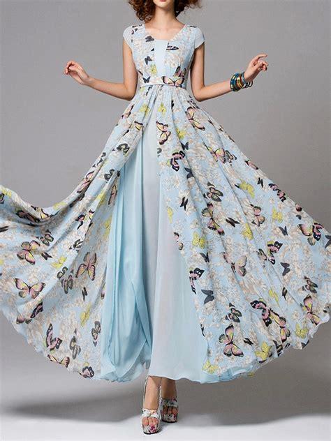 Butterfly Maxi Dress popular light blue butterfly print split maxi dress 70