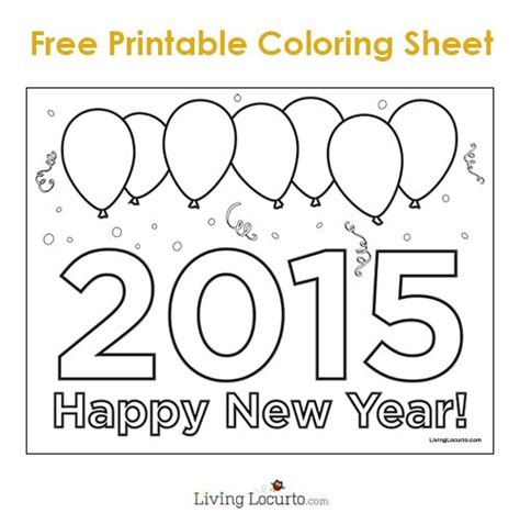 coloring pages for new years 2015 free printable 2015 new year coloring sheet