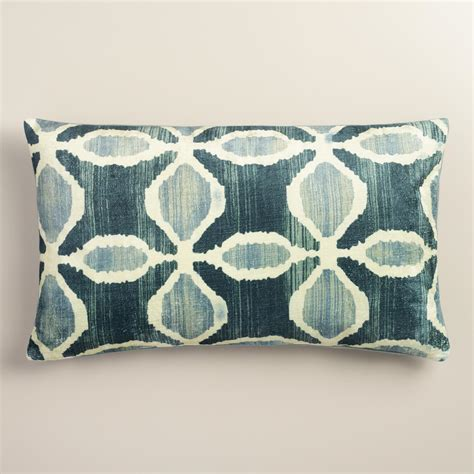 Ikat Velvet Pillows by Oversized Blue Ikat Velvet Taza Lumbar Pillow World Market