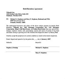 simple hold harmless agreement template 12 hold harmless agreements free sle exle