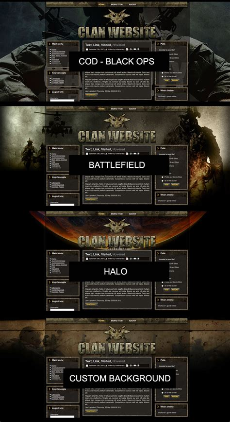 website templates for gaming clans gaming clan joomla template