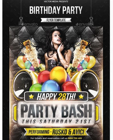 26 Best Images About Birthday Party Flyer Template On Pinterest Birthday Party Invitations Bash Flyer Template