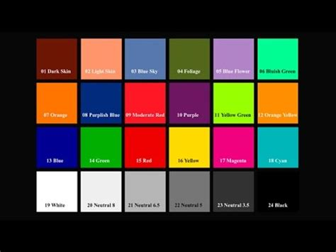 color reference color reference chart sunlight 40 sec 720p hd