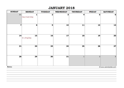 Kalender 2018 Excel 2018 Excel Monthly Calendar With Notes Free Printable