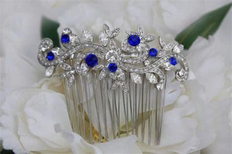 Royal Blue Hair Accessories For Weddings by Sapphire Blue Swarovski Bridal Hair Comb Royal