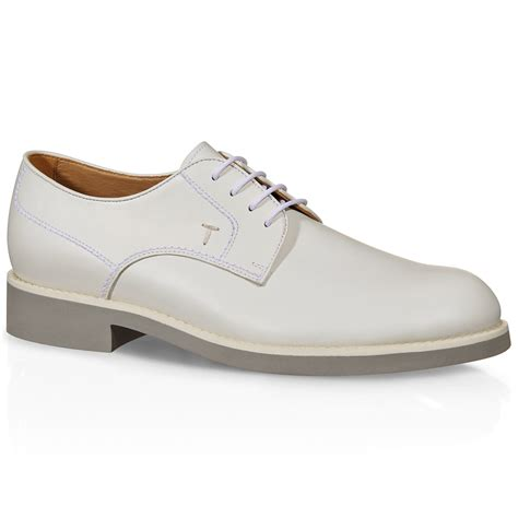 tod s leather lace up shoes in white for lyst
