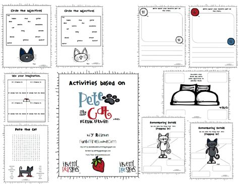 Pete The Cat Worksheets by For Pete The Cat Activity Packet Freebie