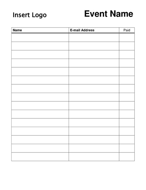 Doc.#16581283: Sign Up Sheet Doc Free Printable Sign Up