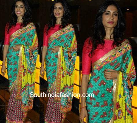 sarah jane dias in saree sarah jane dias in a manish arora saree at a movie screening