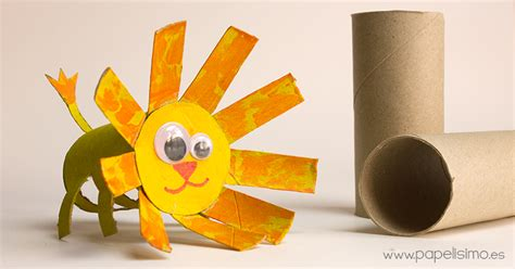 manualidades hechas con carton de animales animales le 211 n manualidades con rollos de papel higi 233 nico