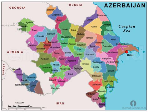 political map of azerbaijan nations online project azerbaijan political map political map of azerbaijan