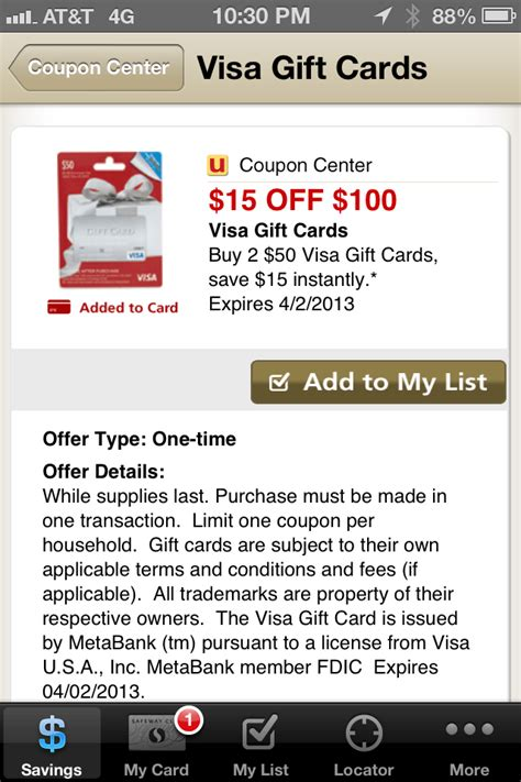 15 Dollar Visa Gift Card - money buy two 50 visa gift cards and get 15 back instantly via safeway money maker