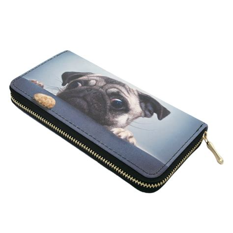 Premium Zipper Dogs bags purses wallets premium pug treat puppy animal print pu leather zip