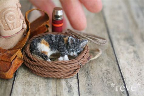 Handmade Miniatures - handmade miniature calico kitten sleeping by