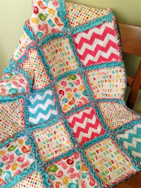 Rag Patchwork Quilt - soft flannel and minky patchwork rag quilt baby