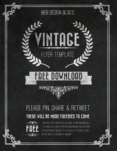 free vintage flyer template psd web design