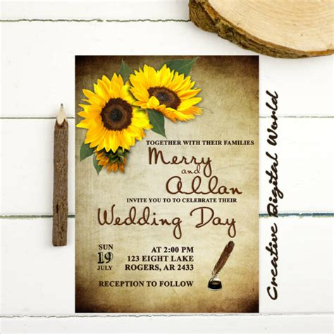 sunflower wedding invitations templates 21 sunflower wedding invitation templates free sle