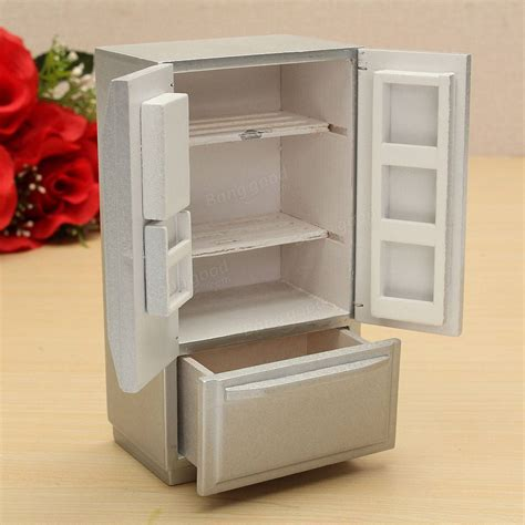 miniature dollhouse kitchen furniture 1 12 wooden dollhouse miniature furniture kitchen fridge