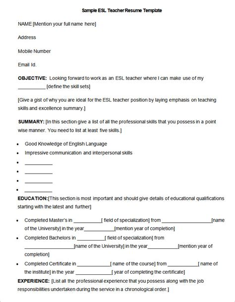 esl resume exles how to make a resume template