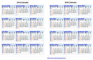 1 Year Calendar Template by 2 Year Calendar Printable Calendar Template 2016