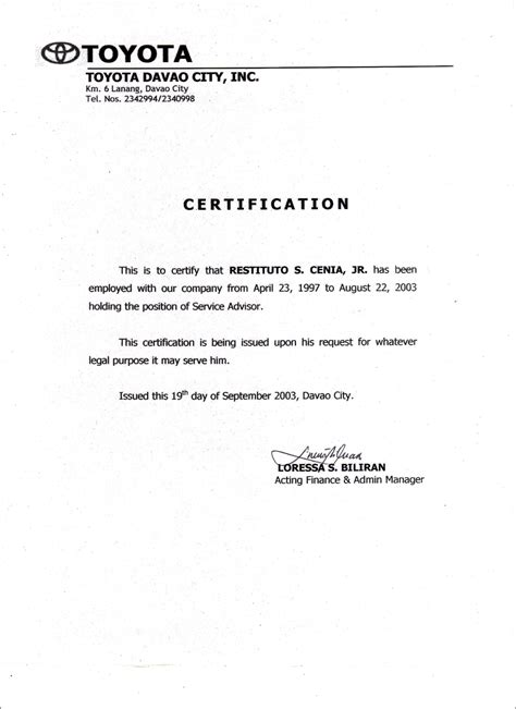 certification letter from previous employer employment certificate sle best templates