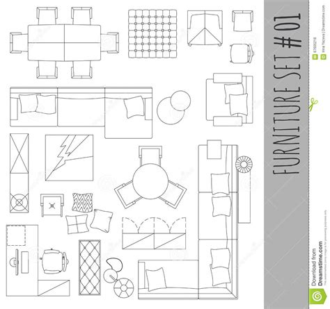 standard furniture symbols used in architecture plans standard furniture symbols used in architecture stock