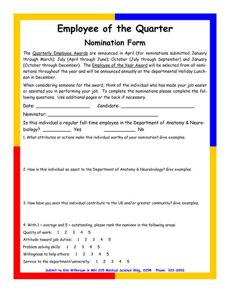 employee recognition nomination letter employee   month letter template