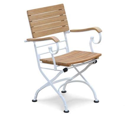 Classic Bistro Chair Classic Bistro Chair Folding Armchair Teak Satin White