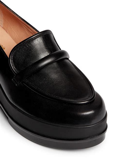 black platform loafers robert clergerie yokolej leather wedge platform loafers