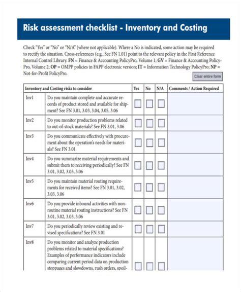 risk assessment checklist template assessment checklist templates 11 free word pdf format