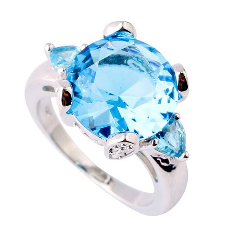A595 Blue Topaz 6 9 Ct la tulipe bleue 6 ct blue topaz silver 925 ring nadine