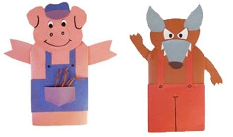 wolf puppet template three pigs activities crafts lessons and