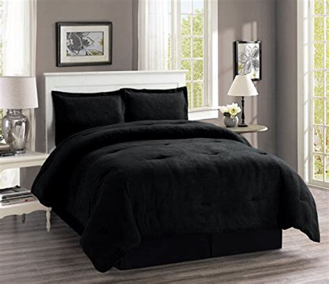 solid black comforter set 4 piece oversize solid black micro suede comforter set