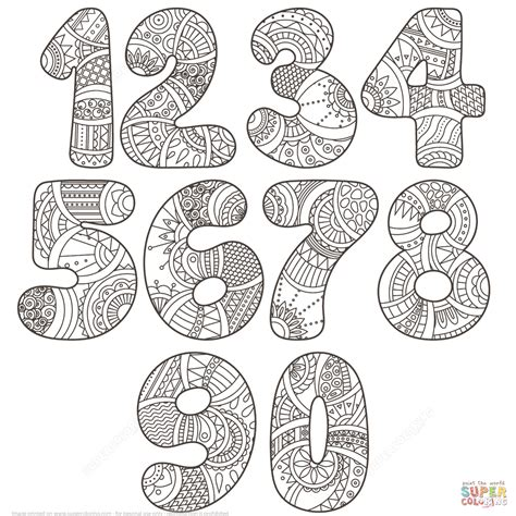 number pattern drawing zentangle numbers set 0 9 coloring page free printable