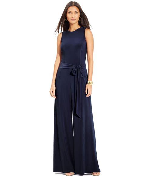 Blue Sleeveless Wide Leg Jumpsuit by ralph sleeveless wide leg jumpsuit in
