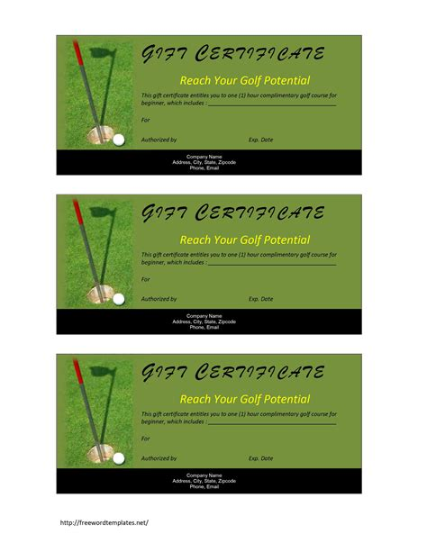 Golf Certificate Templates For Word golf gift certificate template free microsoft word templates