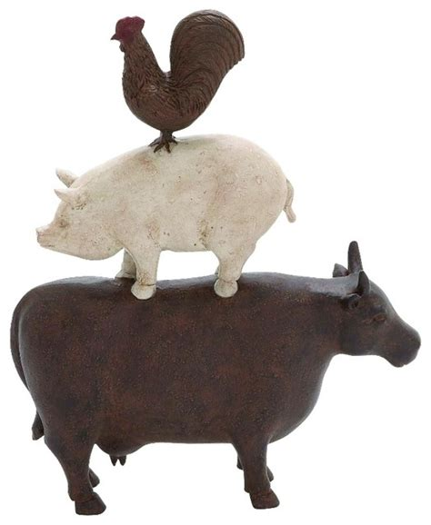 Decorative Statues by American Farm Statue Trio Of Cow Pig Rooster Brown Shades Decor 44717 Rustic Decorative