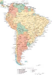 south america large detailed political map with all roads