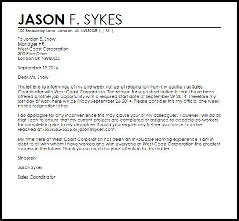 week notice resignation letter resignation letters