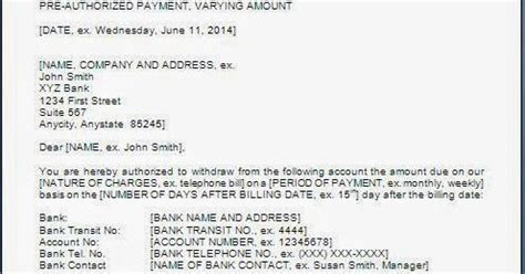 authorization letter debit account authorization letter to bank to debit account
