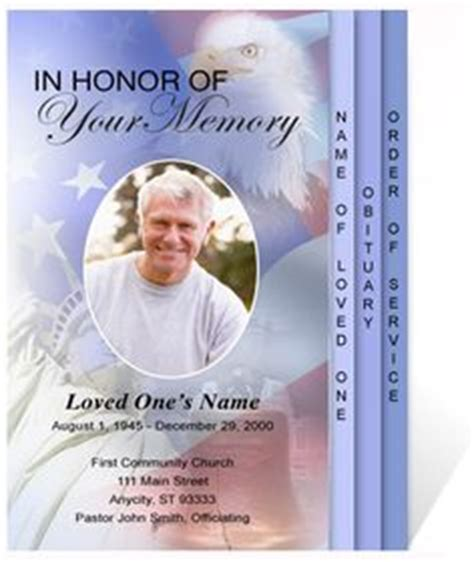 Commemorating A Military Member Or Veteran Our Patriotic Us Trifold Funeral Program Template Free Patriotic Funeral Program Template