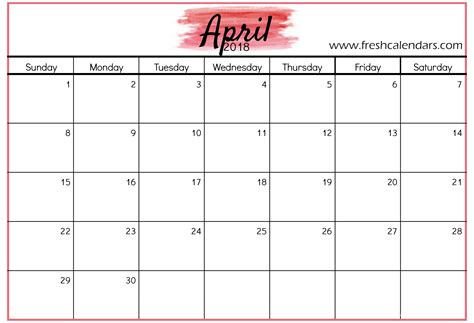 calendar month template april 2018 calendar printable template with holidays pdf