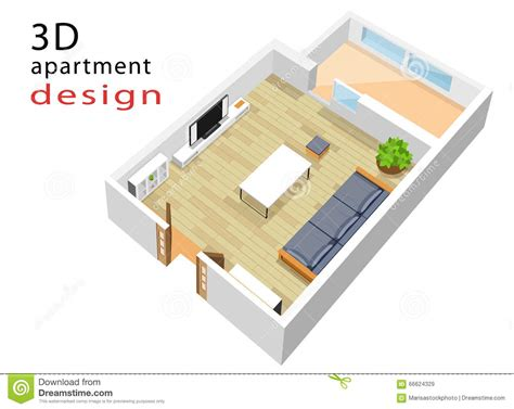 3d floor plan stock illustration image of design 3d isometric floor plan for apartment vector illustration