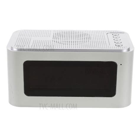 x16 home outdoor bluetooth 4 0 speaker with led display time alarm clock fm silver tvc mall